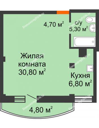 1 комнатная квартира 49 м² - ЖК Южная Башня