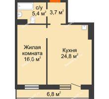 2 комнатная квартира 53,9 м² в ЖК Курчатова, дом № 10.1 - планировка