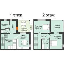 """3 комнатная квартира 147,02 м² в КП Ясная поляна, дом """"Ванкувер"""" 147,02 м² - планировка"""