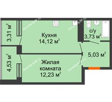 1 комнатная квартира 42,95 м², ЖК Горизонт - планировка