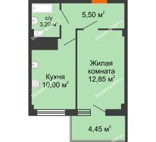 1 комнатная квартира 32,9 м² в ЖК Грин Парк, дом Литер 2 - планировка