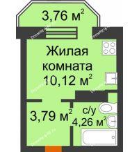 Студия 19,3 м² в ЖК Светлоград, дом Литер 16 - планировка