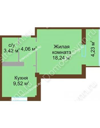 1 комнатная квартира 37,36 м² в ЖК Мой дом на Коломенской, дом № 1
