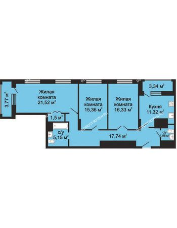 3 комнатная квартира 94,44 м² в ЖК Солнечный, дом № 5 - Гелиос
