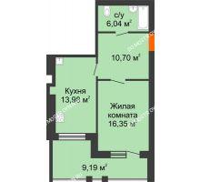1 комнатная квартира 51,66 м² в ЖК Свобода, дом 2 очередь - планировка