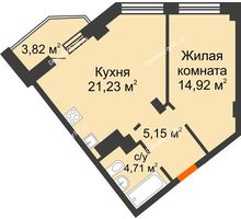 2 комнатная квартира 48,9 м², ЖК Столица - планировка