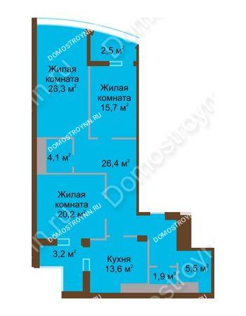 3 комнатная квартира 119,4 м² в ЖК Монолит, дом № 89, корп. 1, 2