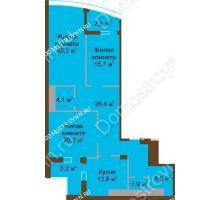 3 комнатная квартира 119,4 м² в ЖК Монолит, дом № 89, корп. 1, 2 - планировка