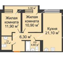 2 комнатная квартира 61,8 м² в ЖК Европейский квартал, дом ГП 3 - планировка