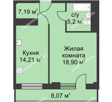 1 комнатная квартира 49,53 м² - ЖК На Ошарской