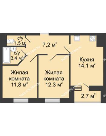 2 комнатная квартира 51,65 м² в ЖК Цветы, дом № 10
