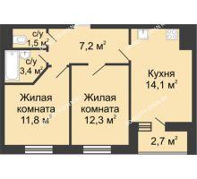 2 комнатная квартира 51,65 м² в ЖК Цветы, дом № 10 - планировка