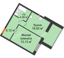 1 комнатная квартира 40,43 м² в ЖК Бунина парк, дом 3 этап, блок-секция 3 С - планировка
