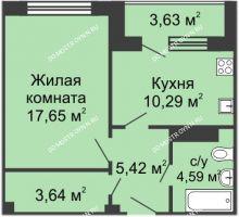1 комнатная квартира 44,27 м² в ЖК Облака, дом № 1