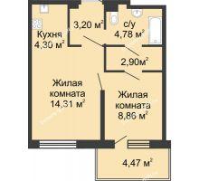2 комнатная квартира 42,82 м² в ЖК Времена Года, дом № 1