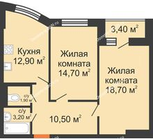 2 комнатная квартира 63,6 м² в ЖК Вересаево, дом Литер 7/2 - планировка