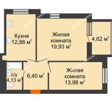 2 комнатная квартира 59,63 м² в ЖК Свобода, дом 1 очередь