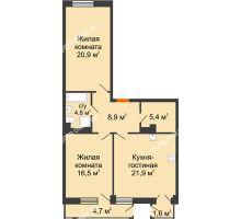 2 комнатная квартира 80,68 м² в ЖК Георгиевский, дом 6 - планировка