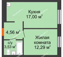 1 комнатная квартира 37,38 м² в ЖК Мозаика Парк, дом ГП-1 - планировка