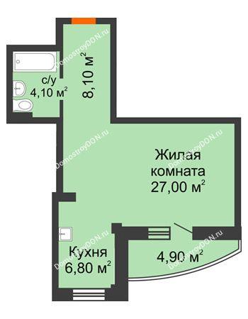 1 комнатная квартира 48,5 м² - ЖК Южная Башня