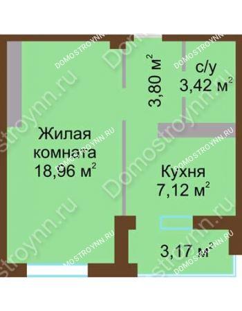 1 комнатная квартира 34,89 м² в ЖК Мой дом на Коломенской, дом № 1