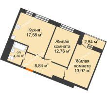 2 комнатная квартира 60,05 м² в ЖК Книги, дом № 2 - планировка