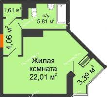Студия 33,7 м², ЖК Открытие - планировка