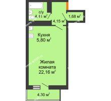 Студия 39,49 м² в ЖК Сокол на Оганова, дом Литер 6 - планировка