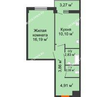 1 комнатная квартира 41,62 м², Жилой дом: г. Арзамас, ул. Матросова, д. 13 - планировка
