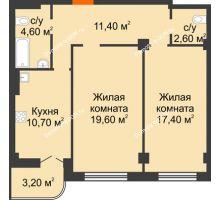 2 комнатная квартира 69,5 м² в ЖК Парк Островского 2, дом № 1 - планировка