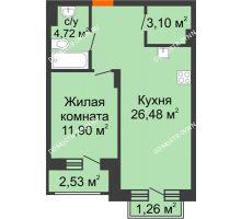 1 комнатная квартира 47,85 м², ЖК Шаляпин - планировка