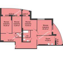 4 комнатная квартира 140,8 м² в ЖК Тихий Дон, дом № 1 - планировка