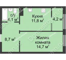 1 комнатная квартира 43,5 м² в ЖК Славянский квартал, дом № 5а, 7