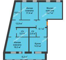 3 комнатная квартира 116,1 м², Жилой дом: ул. Варварская - планировка