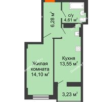 1 комнатная квартира 40,16 м² в ЖК Аврора, дом № 2 - планировка