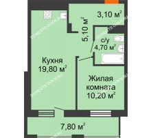 1 комнатная квартира 46,8 м², ЖК Корица - планировка