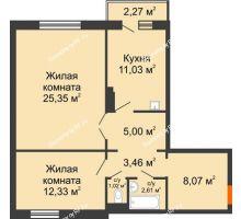 2 комнатная квартира 69,55 м² в ЖК Иннoкeнтьeвcкий, дом № 6 - планировка
