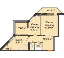 2 комнатная квартира 65,23 м² в ЖК Чернавский, дом 2 этап
