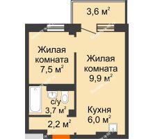 2 комнатная квартира 30,4 м² в ЖК Серебряный, дом № 5 - планировка