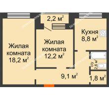2 комнатная квартира 53,8 м² - ЖК Дом на Нижегородской