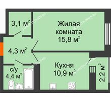 1 комнатная квартира 39,6 м² в ЖК Октава, дом №3 - планировка