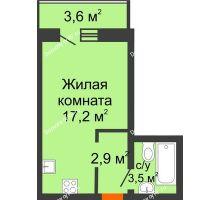 Студия 25,4 м² в ЖК Парк Победы, дом Литер 2 - планировка