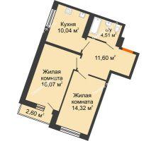 2 комнатная квартира 57,32 м² в ЖК Журавли, дом №2 - планировка