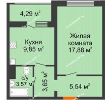 1 комнатная квартира 42,63 м² в ЖК Микрорайон Боровое, дом № 15 - планировка