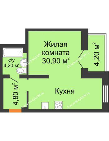 Студия 40,9 м² - ЖК Дом на 18-й Линии, 3
