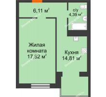 1 комнатная квартира 43,13 м², ЖК Зеленый квартал 2 - планировка