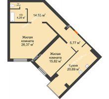 2 комнатная квартира 88,95 м², ЖК Зеленый квартал 2 - планировка