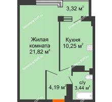 1 комнатная квартира 43,02 м² в ЖК Северный Остров, дом № 6 - планировка