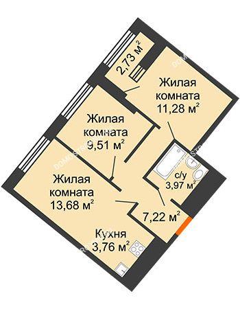 2 комнатная квартира 50,79 м² в ЖК Дом на Набережной, дом № 1