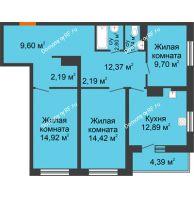 3 комнатная квартира 87,2 м² в ЖК Рассвет, дом № 7 - планировка